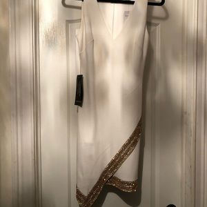 Bebe Gold Embellished Asym Dress